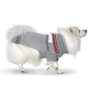 Pet Stop Store xs Gray Hand Knit Polar Bear Dog Sweater