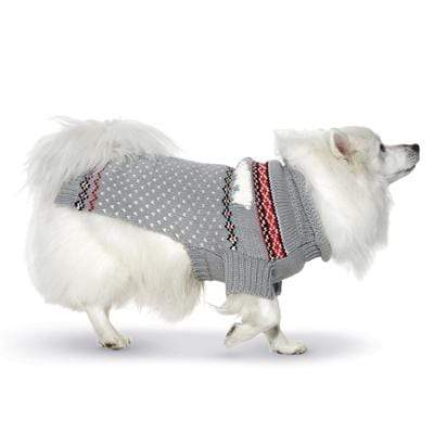 Gray Hand Knit Polar Bear Dog Sweater