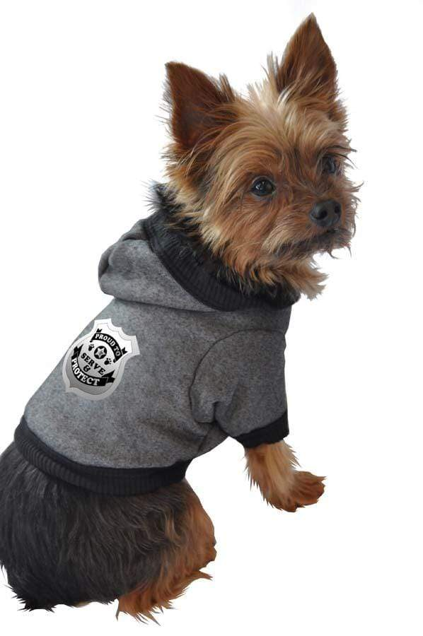 Gray Proud to Serve & Protect Dog Hoodie