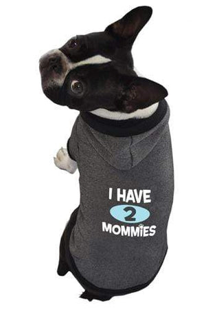 Pet Stop Store xs I Have 2 Mommies Black Dog Hoodie