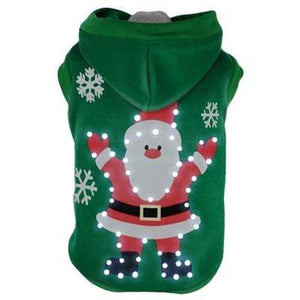 Pet Stop Store xs LED Green Hands-Up Santa Claus Dog Hoodie