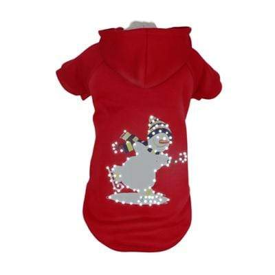 LED Red Holiday Snowman Dog Hoodie