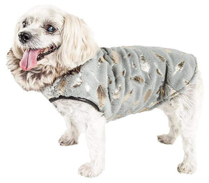 Pet Stop Store xs LUXE 'Gold-Wagger' Gold-Leaf Designer Fur Dog Jacket