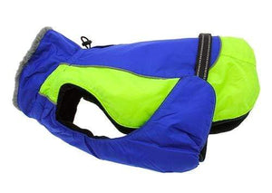 Pet Stop Store xs Lime Green & Blue Solid Alpine All Weather Waterproof Dog Coat