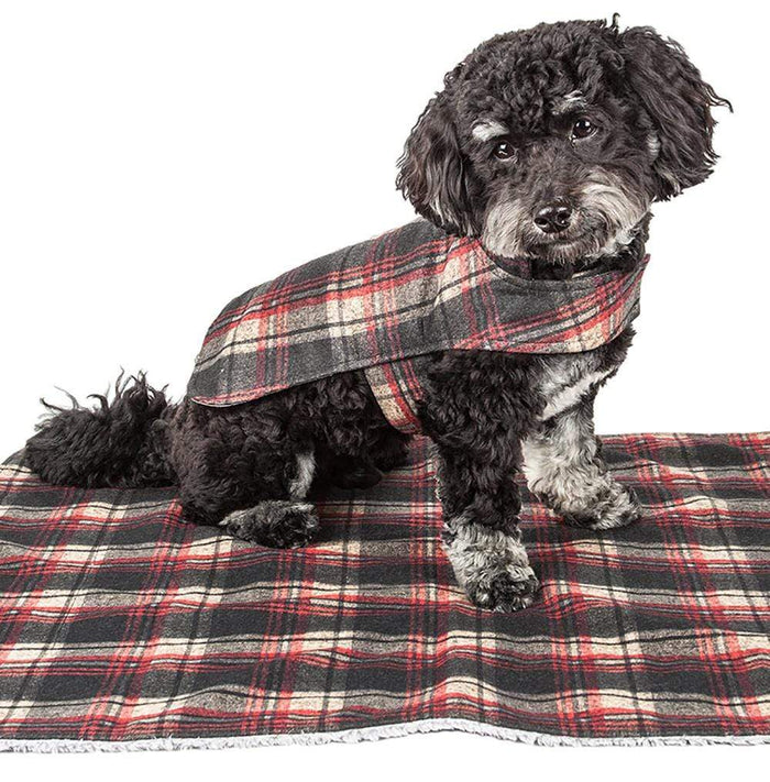 2-in-1 Tartan Plaid Dog Jacket & Matching Reversible Dog Mat