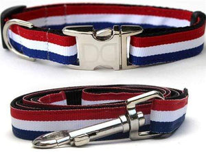 Pet Stop Store XS/S Collar & 5/8 in. x 4 ft. leash Patriotic Red, White & Blue Dog Collar & Leash