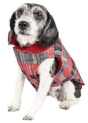 Pet Stop Store xs 'Scotty' Tartan Classic Red, Gray & Black Plaid Insulated Dog Coat
