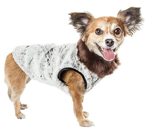 Pet Stop Store xs LUXE 'Purrlage' Pelage Designer Fur White & Brown Dog Coat