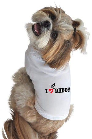 Pet Stop Store xs white I Love My Daddy Dog Hoodie in Black & White