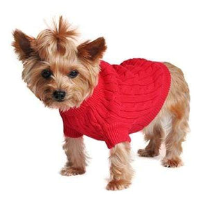 Pet Stop Store xxs Cozy & Warm Riverside Red Cable Knit Dog Sweater