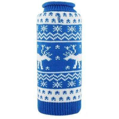 Cute Blue & White Holiday Reindeer Dog Sweater