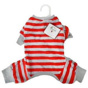 Pet Stop Store xxs Fun & Playful Striped Red Pajama for Dogs