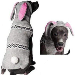 Pet Stop Store xxs Gray Handmade Dog Hoodie with Bunny Ears