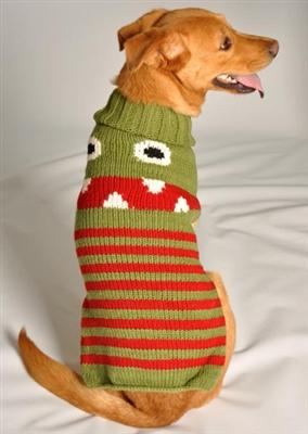 Pet Stop Store xxs Handmade Little Monster Red & Green Dog Sweater