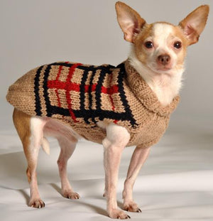 Pet Stop Store xxs Handmade Tan Plaid Dog Sweater