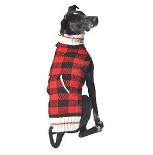 Pet Stop Store xxs Red & Black Handmade Buffalo Plaid Dog Sweater
