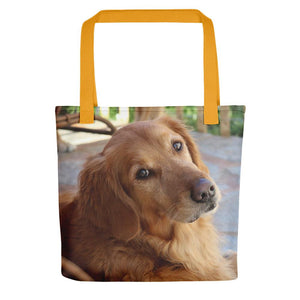 Pet Stop Store Yellow Porch Golden Retriever Tote Bag