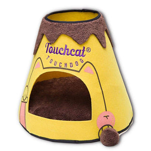 Pet Stop Store yellow/brown Designer Triangular Pet Dog Bed House With Toy