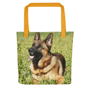 Pet Stop Store Yellow Grassy German Shepherd Tote Bag