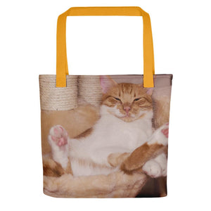 Pet Stop Store Yellow Lazy Fat Cat Tote Bag