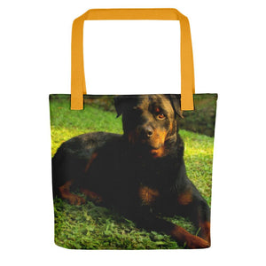 Pet Stop Store Yellow Rottweiler Dog Tote Bag