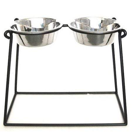 Pyramid Elevated Double Dog Feeder - Xx Large-black