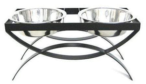 Petsstop Seesaw Double Elevated Dog Bowl - Large-black
