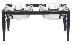 Petsstop Chariot Double Elevated Dog Bowl - Medium-black