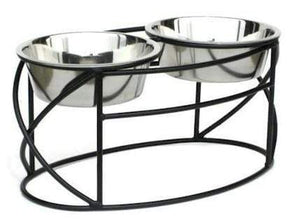 Petsstop Oval Cross Double Raised Feeder - Large-black