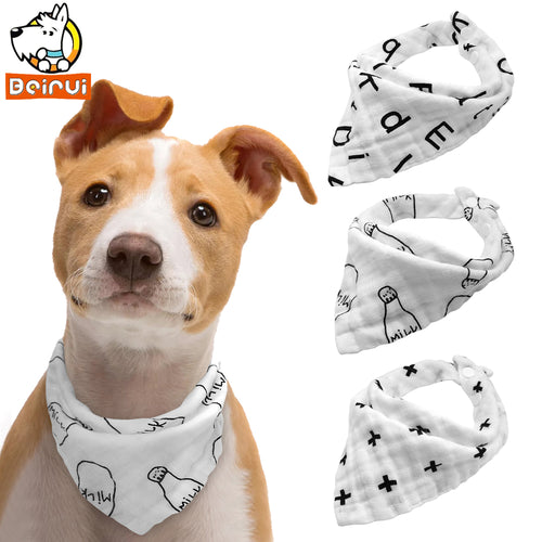 3 pcs Set of White Dog Bandanas for Medium Sized Dogs