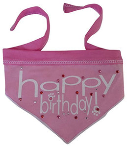 I See Spot Happy Birthday Pet Dog Bandana Scarf in Pink