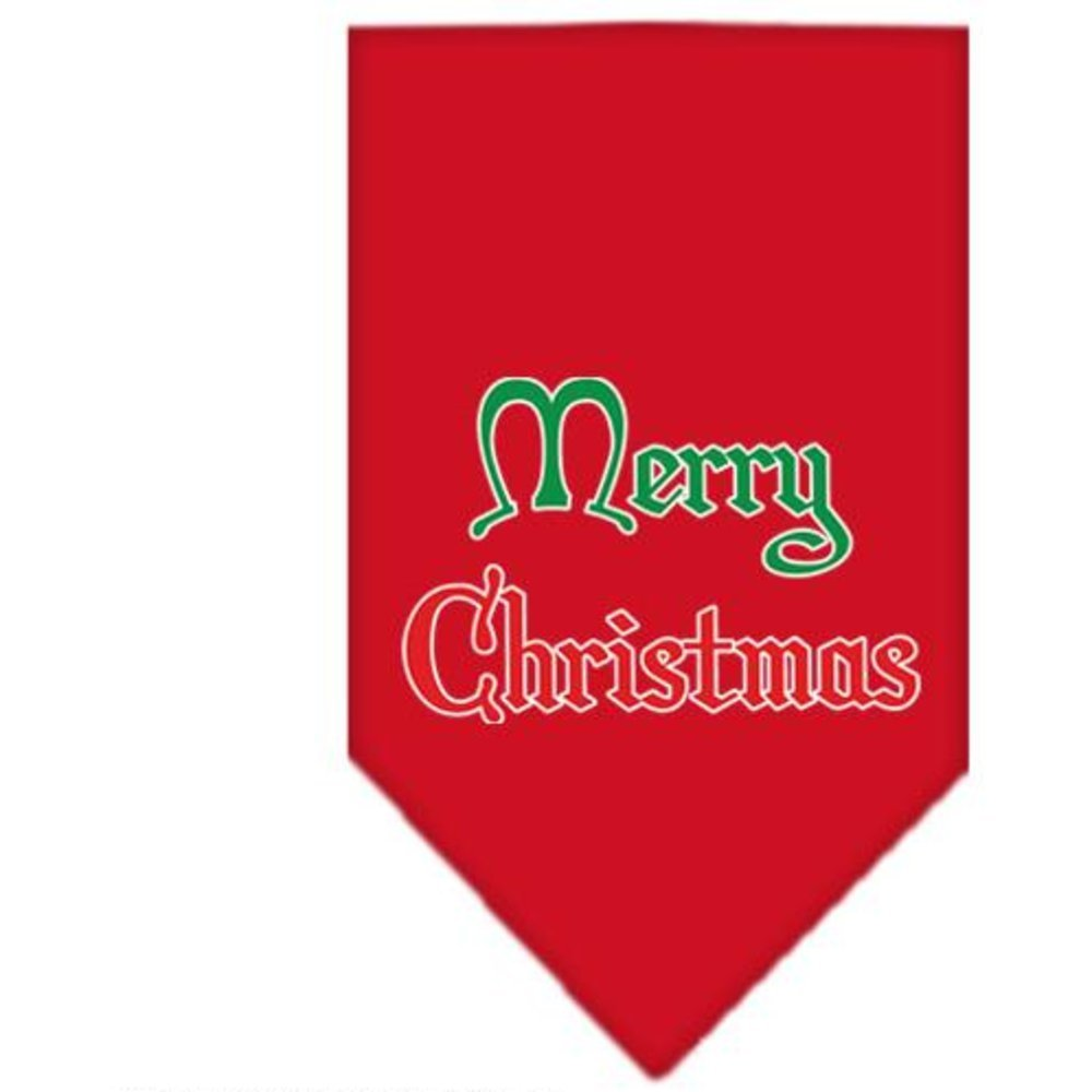 Mirage Pet Products Merry Christmas Screen Print Bandana for Pets, Large, Red