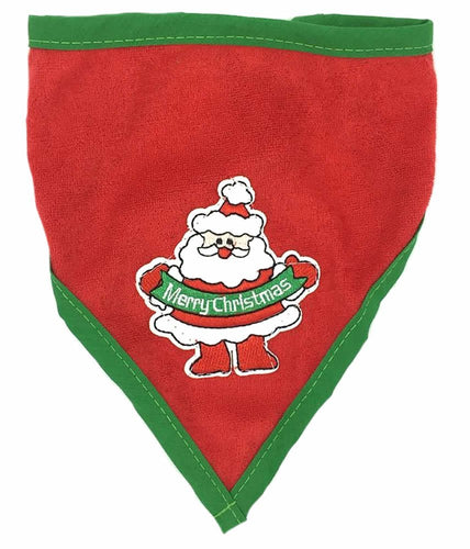 Red Santa Reindeer Christmas Dog Bandana for Medium to Large Dogs