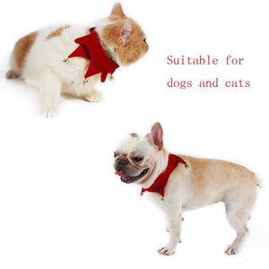Pet Dog Bandana Cat Puppy Scarf with Jingle Bells for Christmas Costume Gift, Adjustable