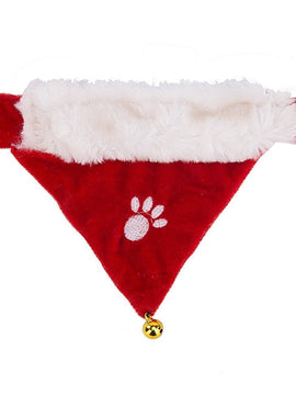 Paw Print Christmas Holiday Dog Bandanas Santa Collars for Dogs