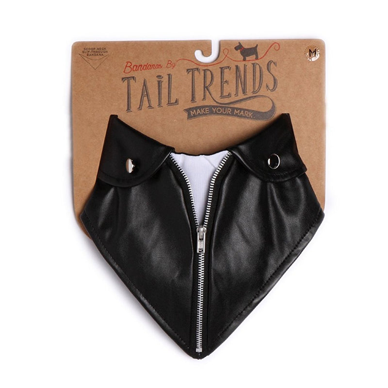 Tail Trends Moto Jacket Formal Dog Bandana with Black and Camouflage Print