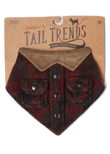 Tail Trends Lumberjack Dog Bandanas for Medium to Large Sized Dog - 100% Cotton