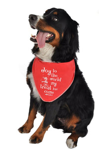 Ruff Ruff and Meow Doggie Bandana, Joy to the World, Red, Medium