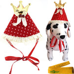 Red Pet Dog Cat Birthday Holiday Party Hat Headwear Costume Accessory with Golden Color Crown Bow ties White Dots and Lace for Small Medium Dogs Cats Pets