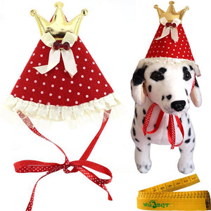 Red Pet Dog Cat Birthday Holiday Party Hat Headwear Costume Accessory With Golden Color Crown Bow