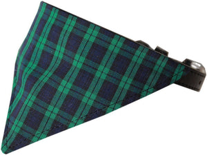 Green Plaid Bandana Pet Collar Black Size 20