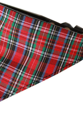 Red Plaid Bandana Pet Collar Black Size 20