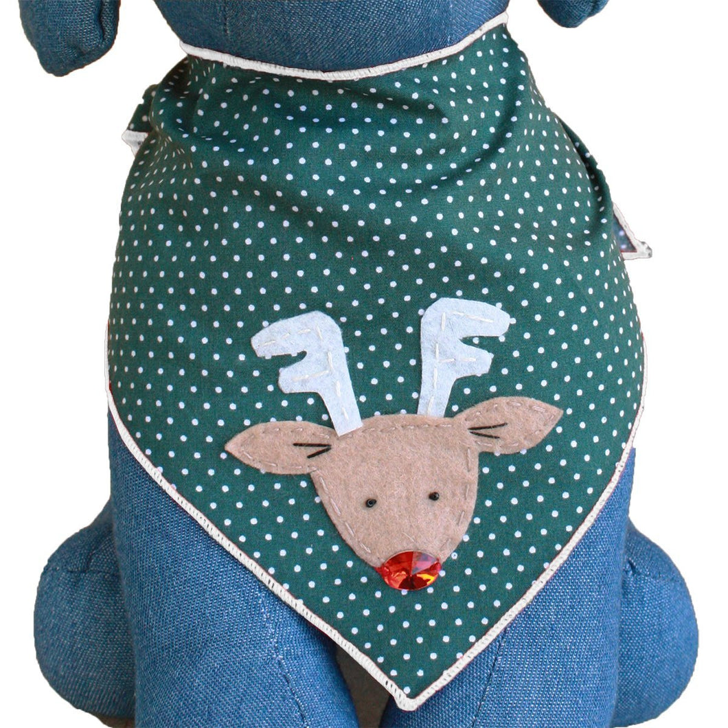 Tail Trends Christmas Dog Bandanas (Rudolph) Designer Dog Bandana -  100% Cotton