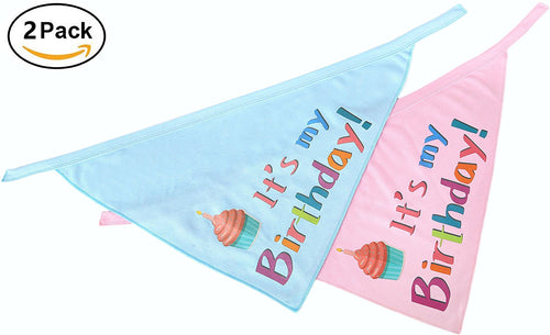 Birthday Dog Bandana Pet Scarf - Blue and Pink Set
