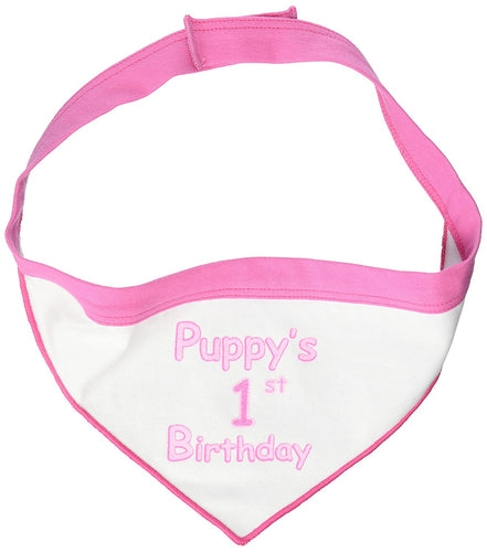 I See Spot Puppy's First Birthday Pet Bandana Scarf in White with Pink