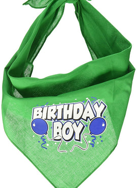 Mirage Pet Products Birthday Boy Screen Print Bandana for Pets, Large, Emerald Green