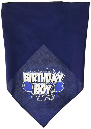Mirage Pet Products Birthday Boy Screen Print Bandana for Pets, Large, Navy Blue