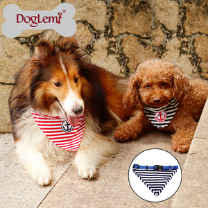 Anchor Stripe Cotton Dog Puppy Bandana Pet Collar - Adjustable
