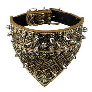 "Bandana Style 2"" Wide Studded Spiked Leather Pet Collar"