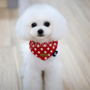 Peach Type Star Print Button Design Puppy Neck Bandana Saliva Towel-Red